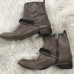 Coach•adella burnish leather ankle booties chain 6